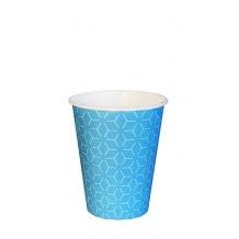 Lot de 20 sachets x 50 gobelets carton Geometric bleu 8oz/237ml