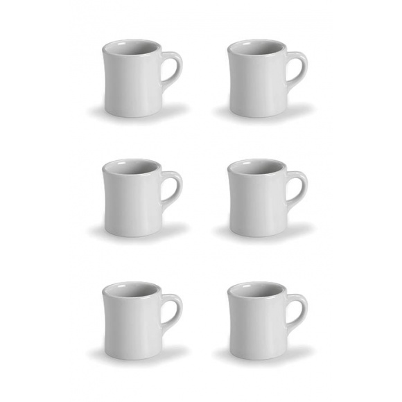 SET x 6 Mug porcelaine blanche 350ml