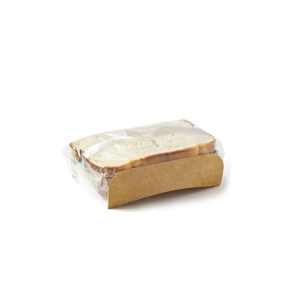 Bloomer étui kraft grand format avec film pour sandwich pain de mie x 1000