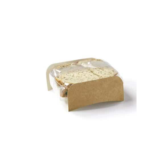 Square étui kraft petit format avec film pour sandwich pain de mie x 1000