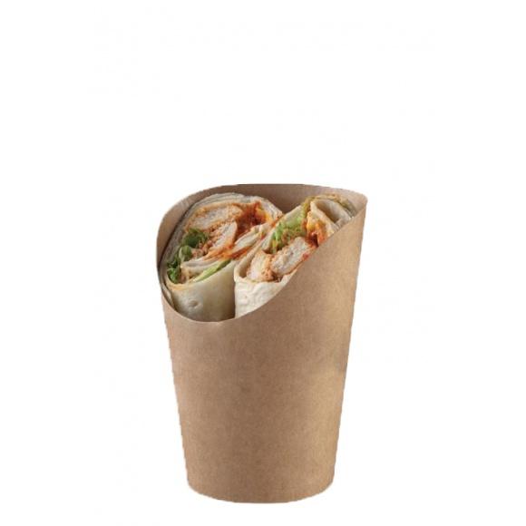 Lot de 4 x 250 cornets kraft pour Wrap Tortilla Double