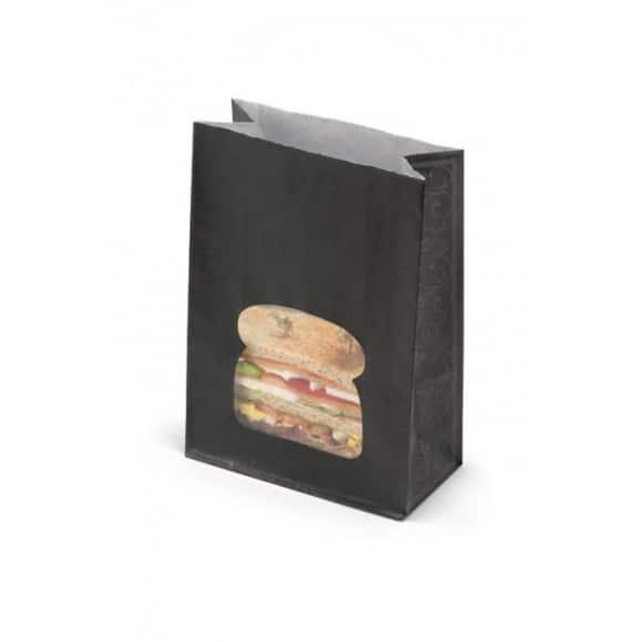 Sac kraft noir avec fenêtre burger x 250