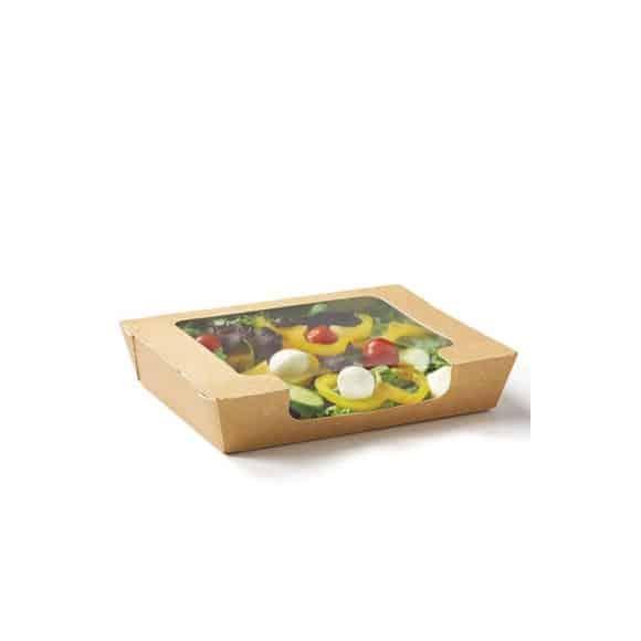 RapTray boîte à salade kraft avec fenêtrer plastique 1L x 360