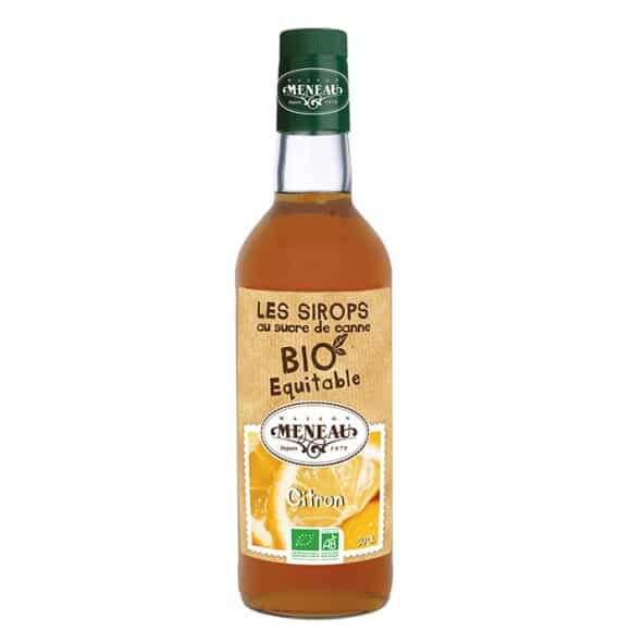 sirop citron bouteille verre