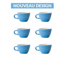 Set x 6 FLAT WHITE tasse porcelaine 150ml Bleu