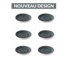 Set x 6 soucoupes porcelaine 110mm Gris