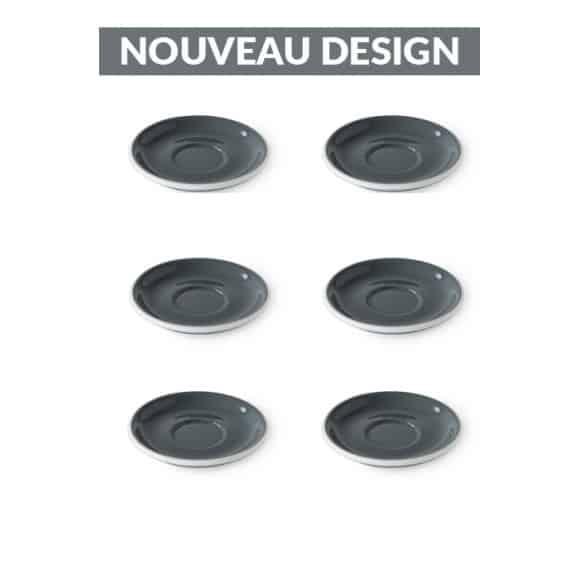 Set x 6 soucoupes porcelaine 110mm Gris