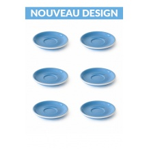 Set x 6 soucoupes porcelaine 110mm Bleu