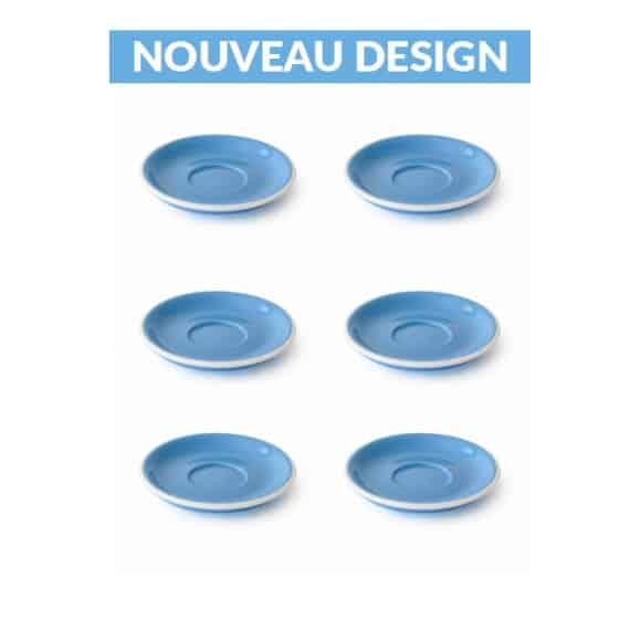 Set x 6 soucoupes porcelaine 110mm Bleu