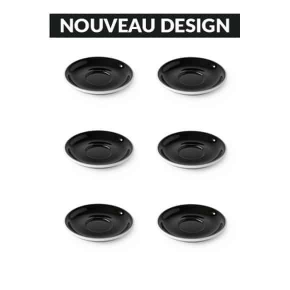 Set x 6 soucoupes porcelaine 110mm Noir