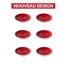 Set x 6 soucoupes porcelaine 110mm Rouge