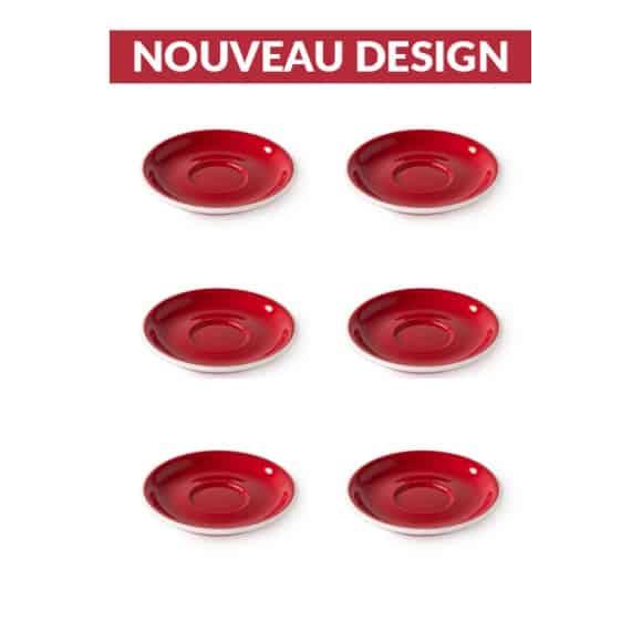 Set x 6 soucoupes porcelaine 110mm Rouge