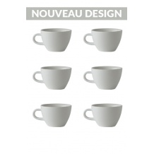 Set x 6 FLAT WHITE tasse porcelaine 150ml Blanc