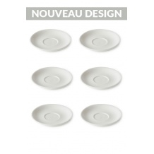 Set x 6 FLAT WHITE soucoupe porcelaine 140mm Blanc