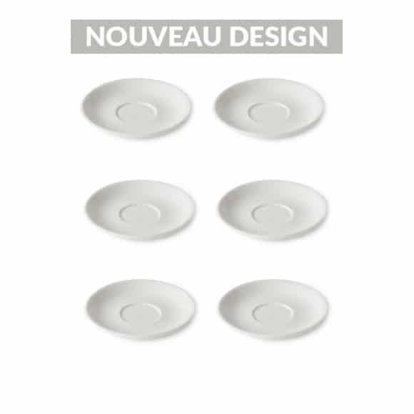 Set x 6 FLAT WHITE soucoupe porcelaine 140mm Blanc