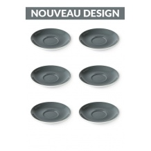 Set x 6 FLAT WHITE soucoupe porcelaine 140mm Gris