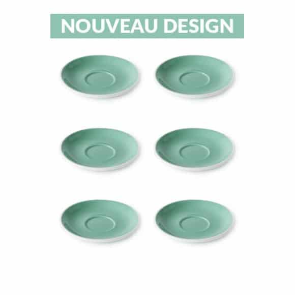 Set x 6 soucoupes porcelaine 140mm Vert