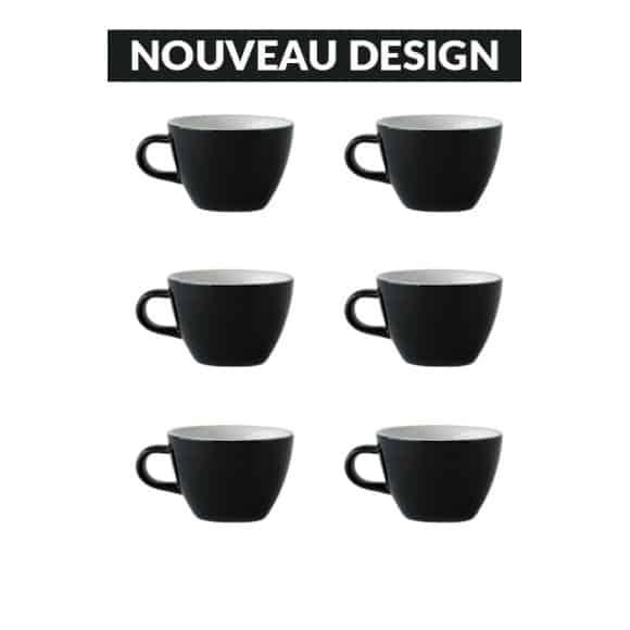 Set x 6 FLAT WHITE tasse porcelaine 150ml Noir