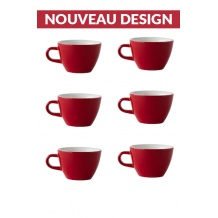 Set x 6 FLAT WHITE tasse porcelaine 150ml Rouge