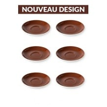 Set x 6 soucoupes porcelaine 140mm Marron
