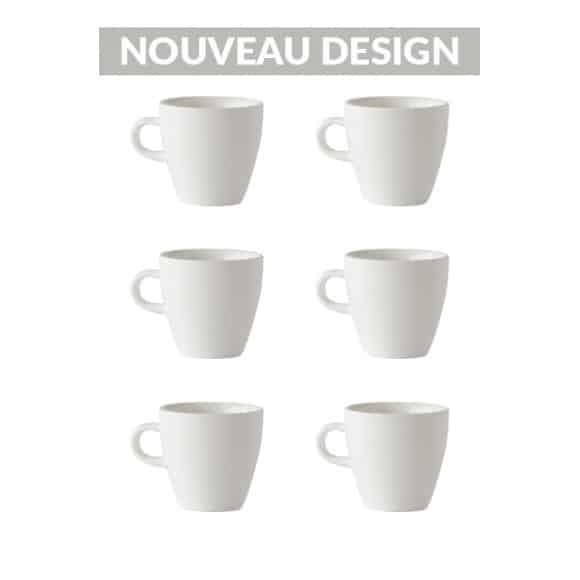 Set x 6 TULIP tasse porcelaine 170ml Blanc