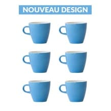 Set x 6 TULIP tasse porcelaine 170ml Bleu