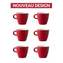Set x 6 TULIP tasse porcelaine 170ml Rouge