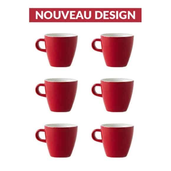 Set x 6 TULIP tasse porcelaine 170ml Rouge