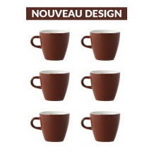 Set x 6 TULIP tasse porcelaine 170ml Marron
