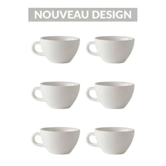 Set x 6 CAPPUCCINO CUP tasse porcelaine 190ml Blanc