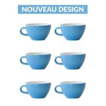 Set x 6 CAPPUCCINO tasse porcelaine 190ml Bleu