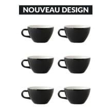 Set x 6 CAPPUCCINO tasse porcelaine 190ml Noir