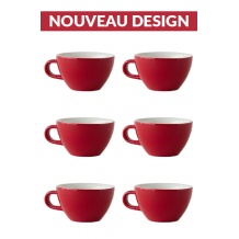 Set x 6 CAPPUCCINO tasse porcelaine 190ml Rouge