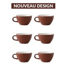 Set x 6 CAPPUCCINO tasse porcelaine 190ml Marron