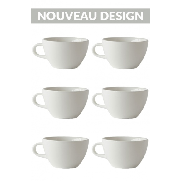 Set x 6 LATTE tasse porcelaine 280ml Blanc