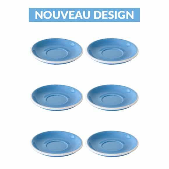 Set x 6 soucoupes porcelaine 150mm Bleu