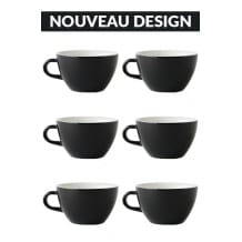 Set x 6 LATTE tasse porcelaine 280ml Noir