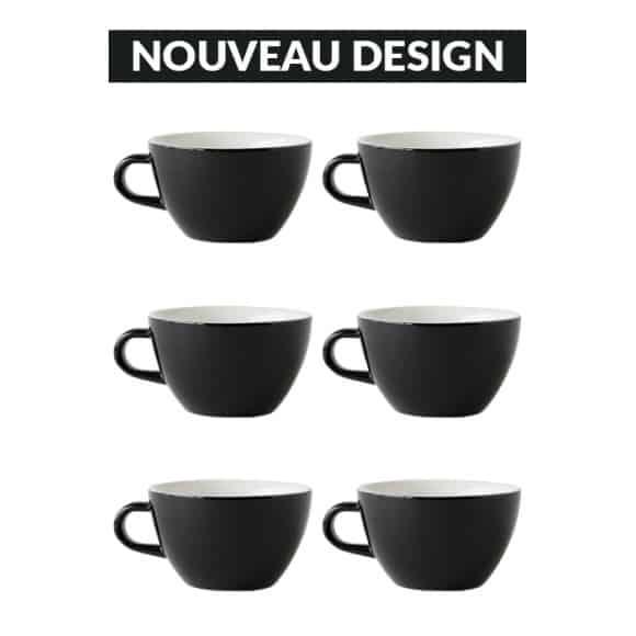 Set x 6 LATTE tasse porcelaine 280ml Noir