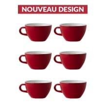 Set x 6 LATTE tasse porcelaine 280ml Rouge