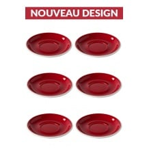 Set x 6 soucoupes porcelaine 150mm Rouge