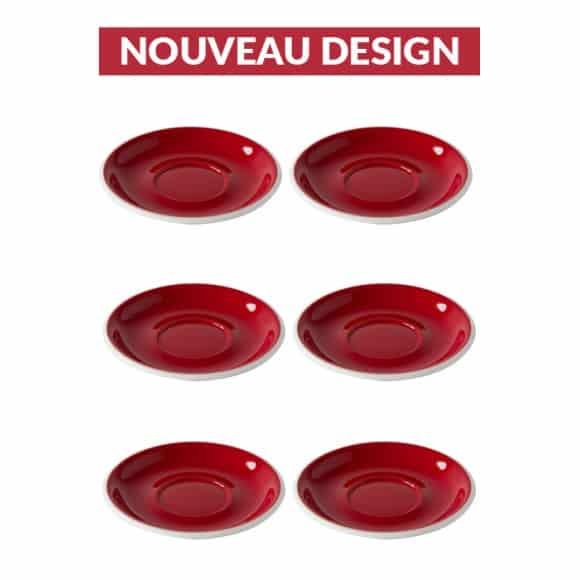 Set x 6 soucoupes porcelaine 150mm Rouge