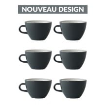 Set x 6 MIGHTY tasse porcelaine 350ml Gris