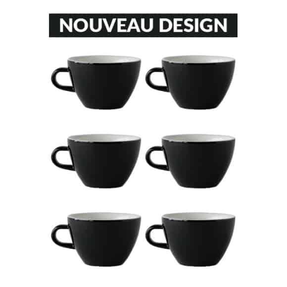Set x 6 MIGHTY tasse porcelaine 350ml Noir