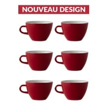 Set x 6 MIGHTY tasse porcelaine 350ml Rouge