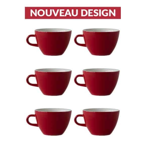 Set x 6 MIGHTY tasse porcelaine 350ml Rouge