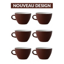 Set x 6 MIGHTY tasse porcelaine 350ml Marron