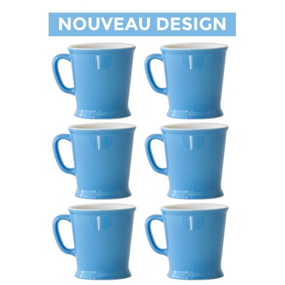 Set x 6 MUG porcelaine 230ml Bleu