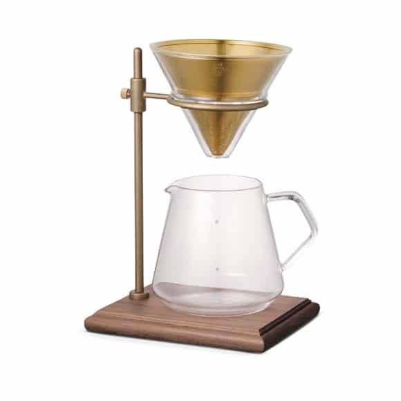 Cafetière Bois & Laiton avec dripper et filtre permanent 4 tasses