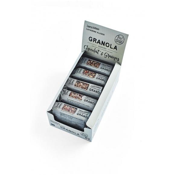 Présentoir barres granola chocolat noir 20 x 40g BIO