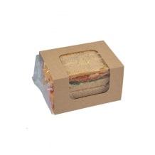 CLASP CLIP SQUARE étui kraft avec film pour sandwichs club x100